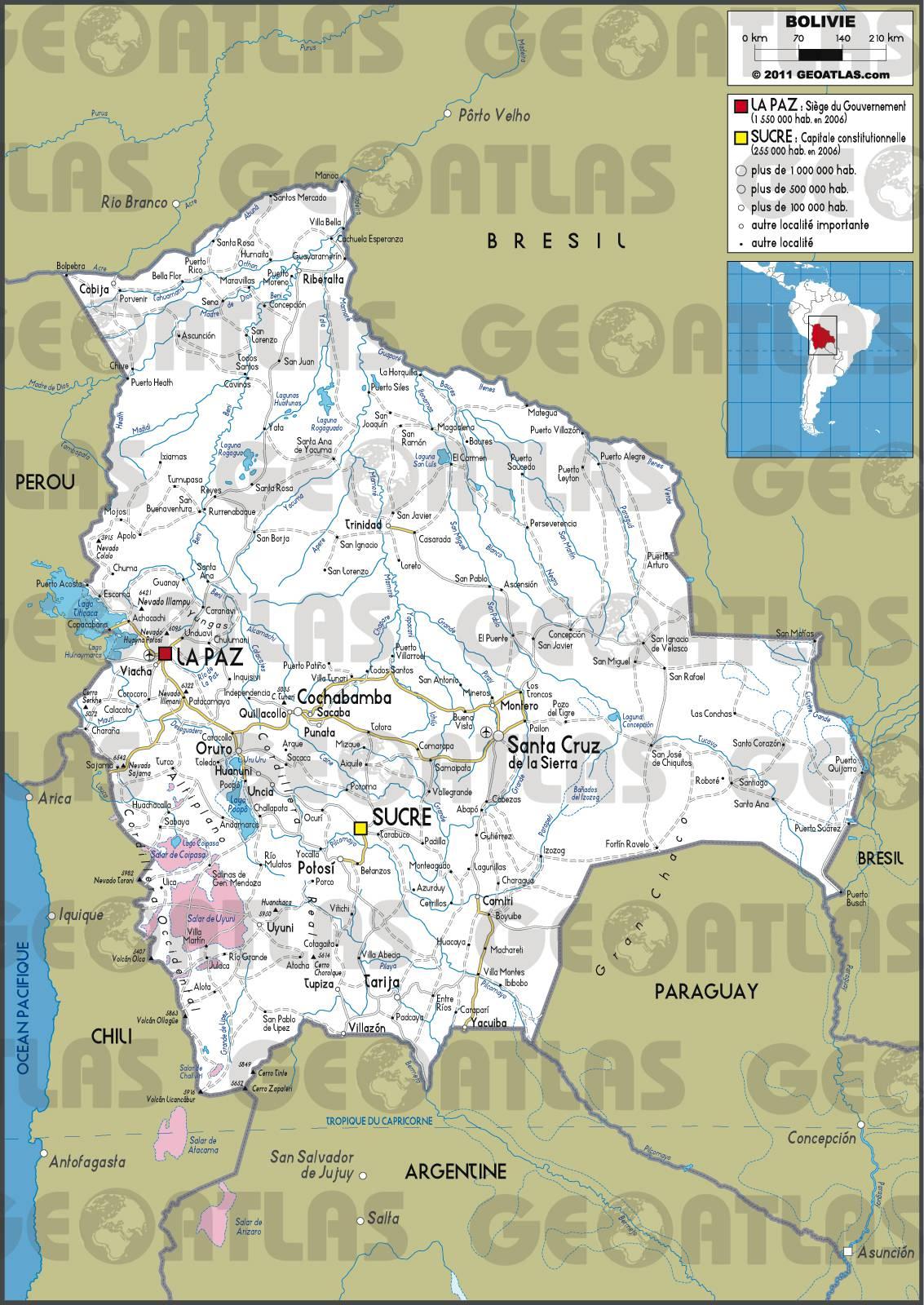 Carte routière de la Bolivie