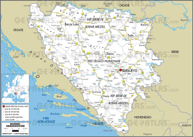 Carte routière de la Bosnie-Herzégovine