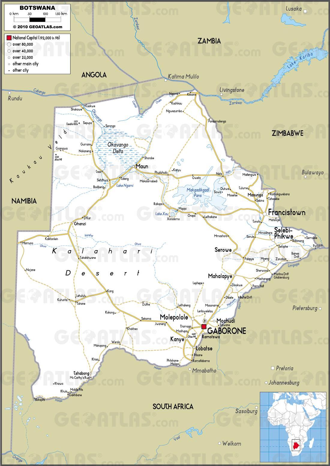 Carte routière du Bostwana