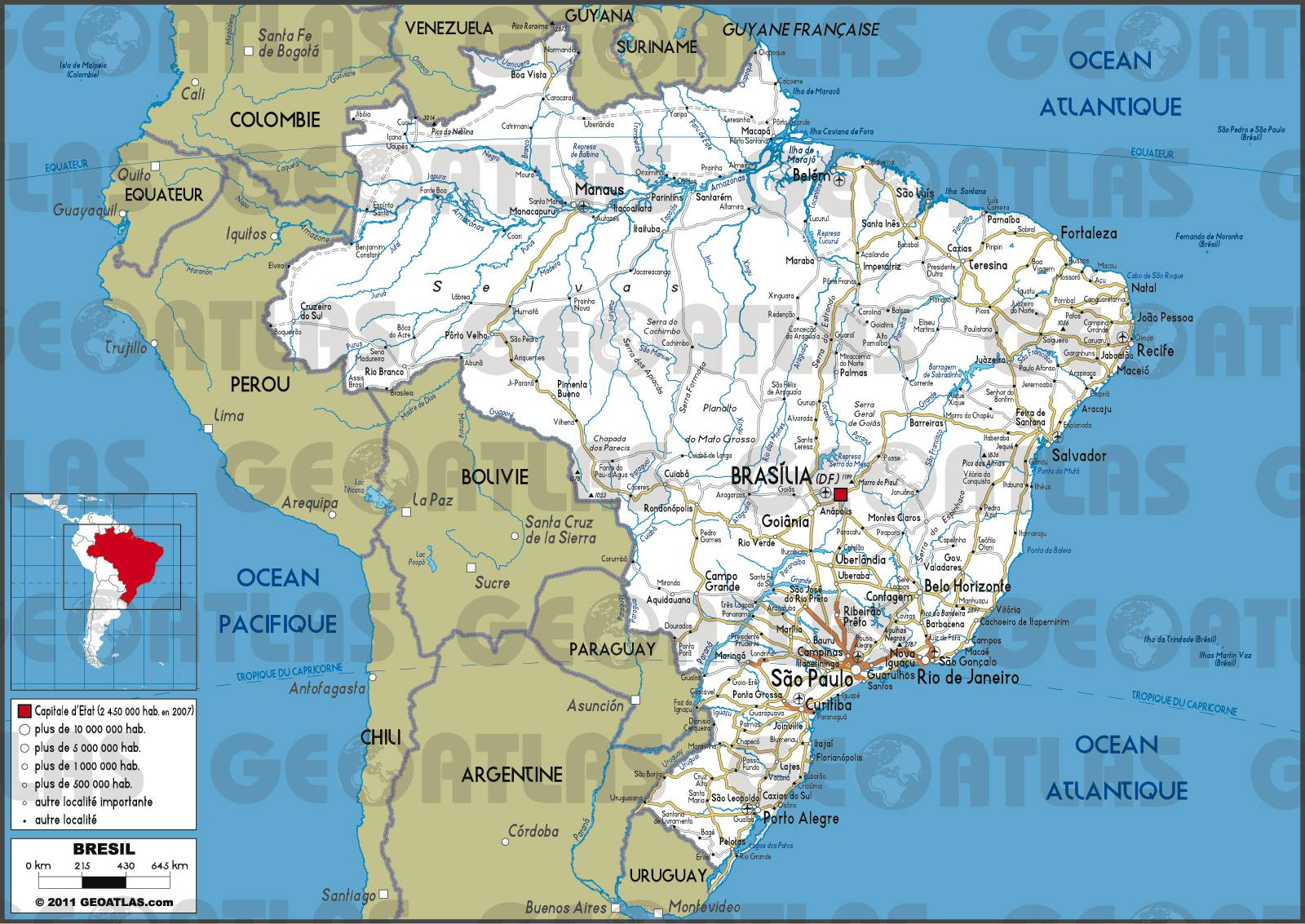 Carte routière du Brésil