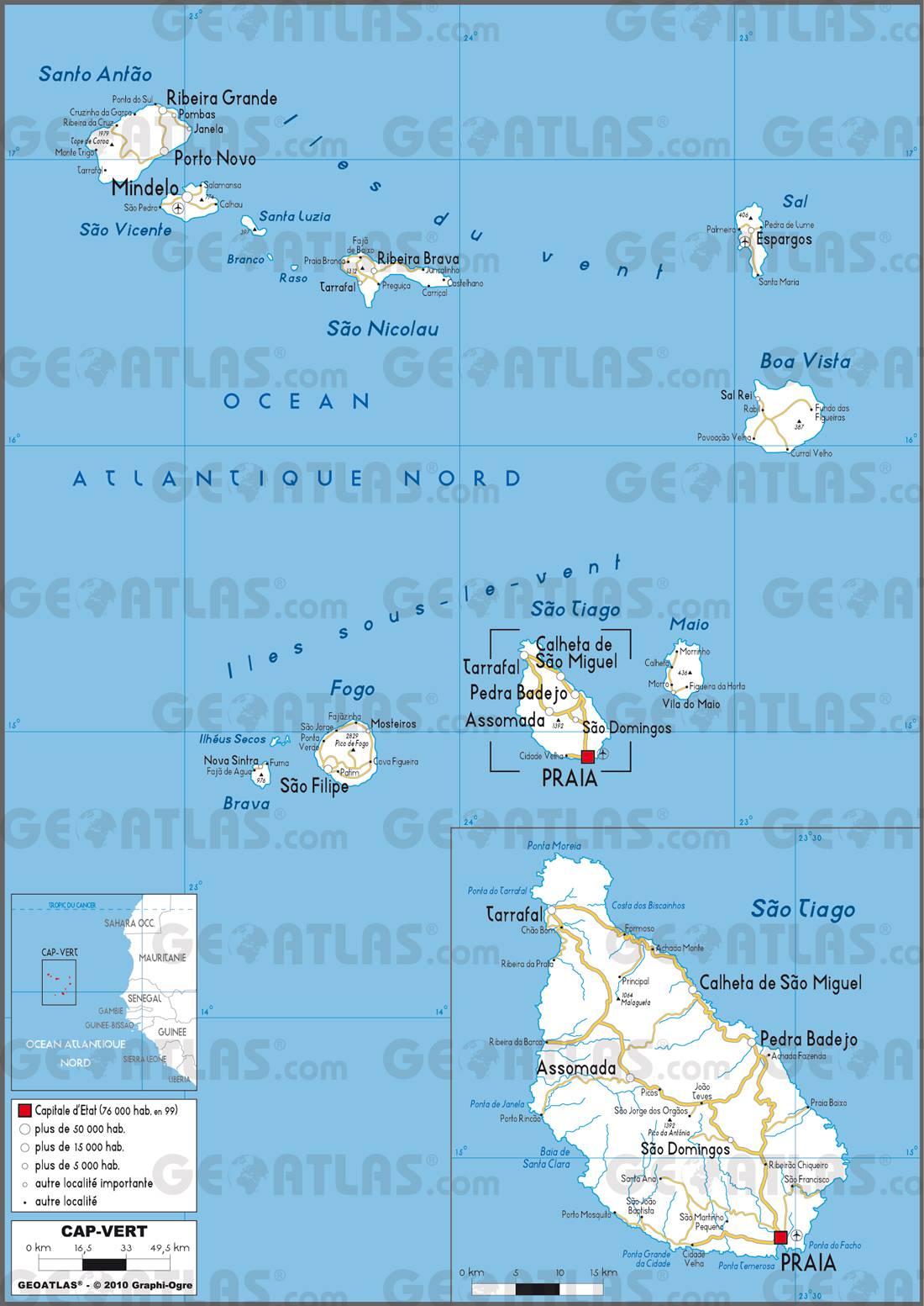 Carte routière du Cap-Vert
