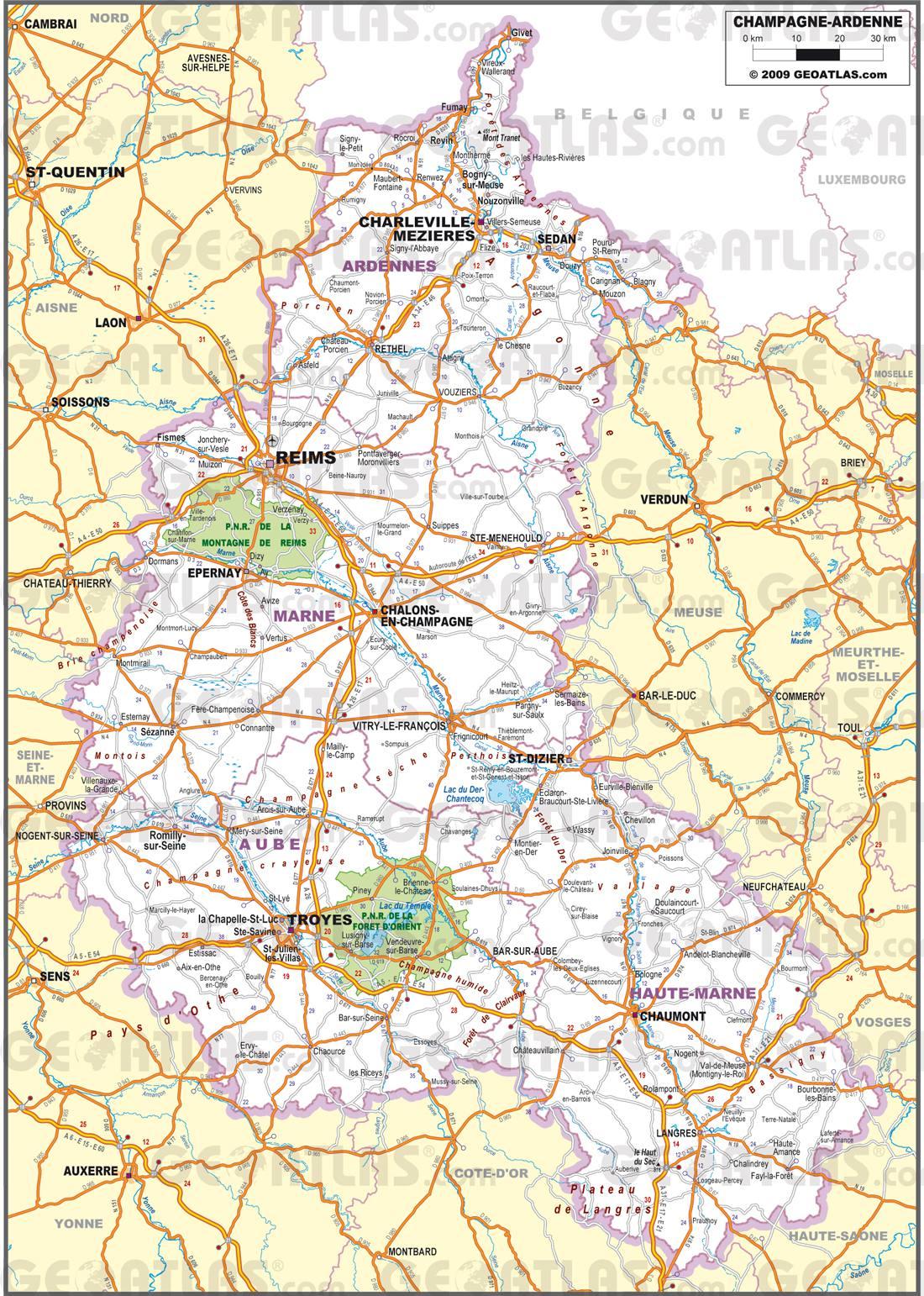 Carte routière de la Champagne-Ardenne