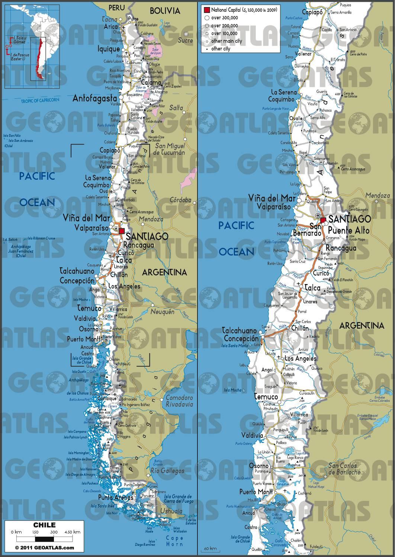Carte routière du Chili