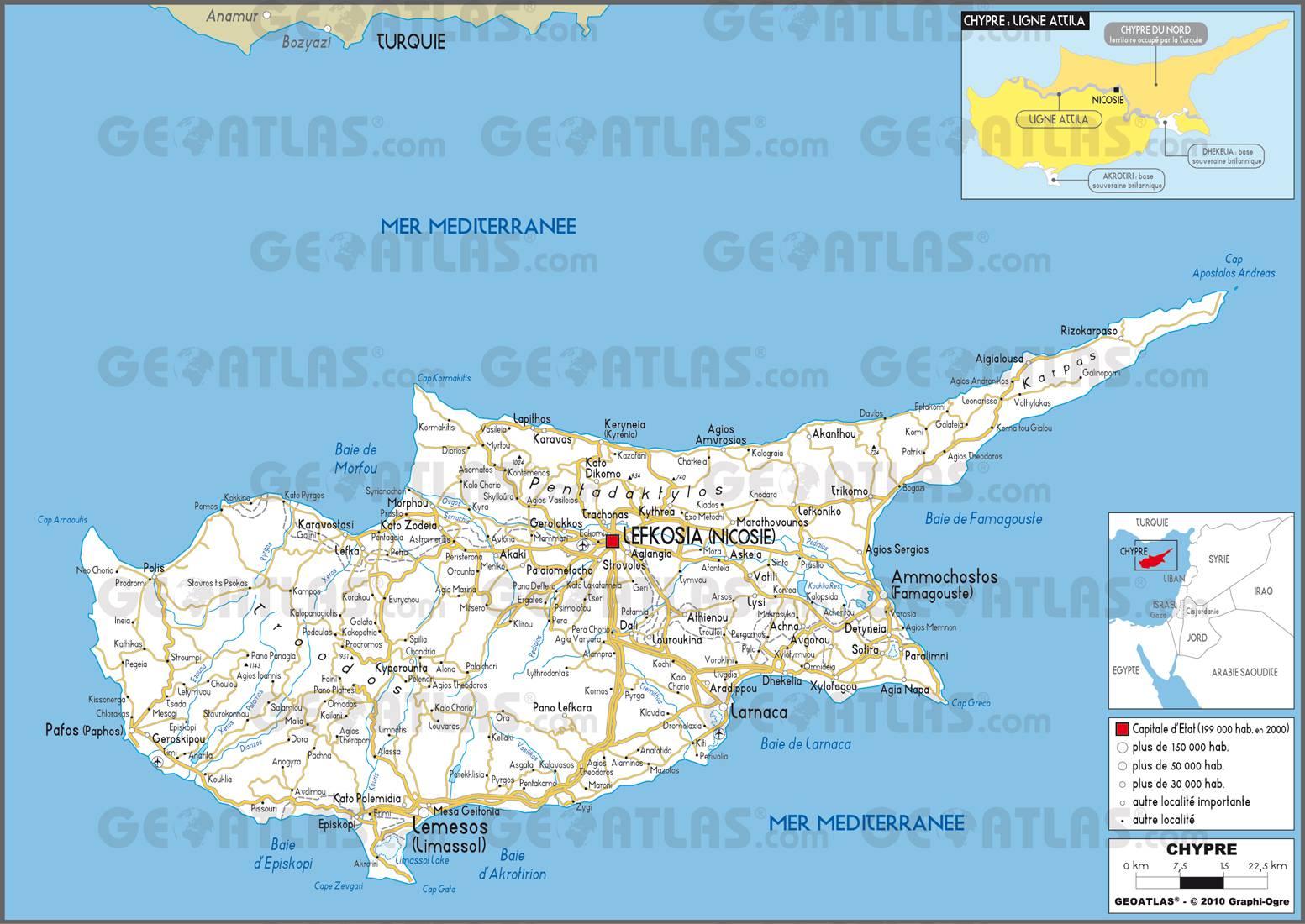 Carte routière de Chypre