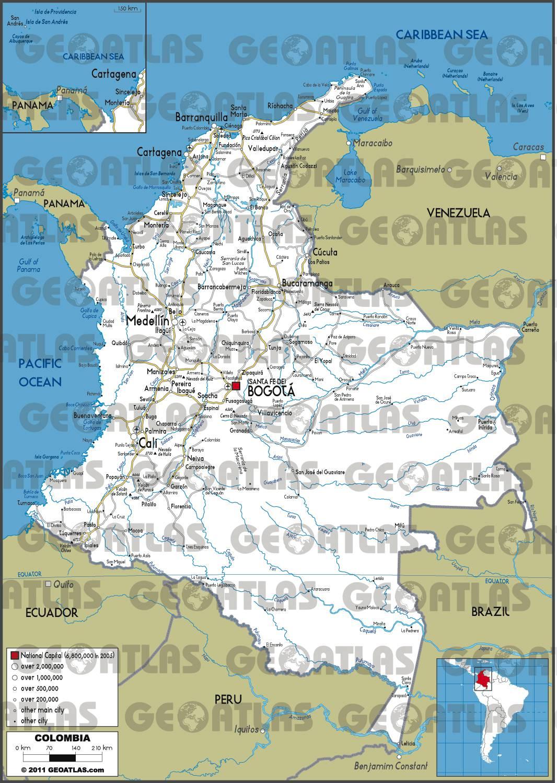 Carte routière de la Colombie