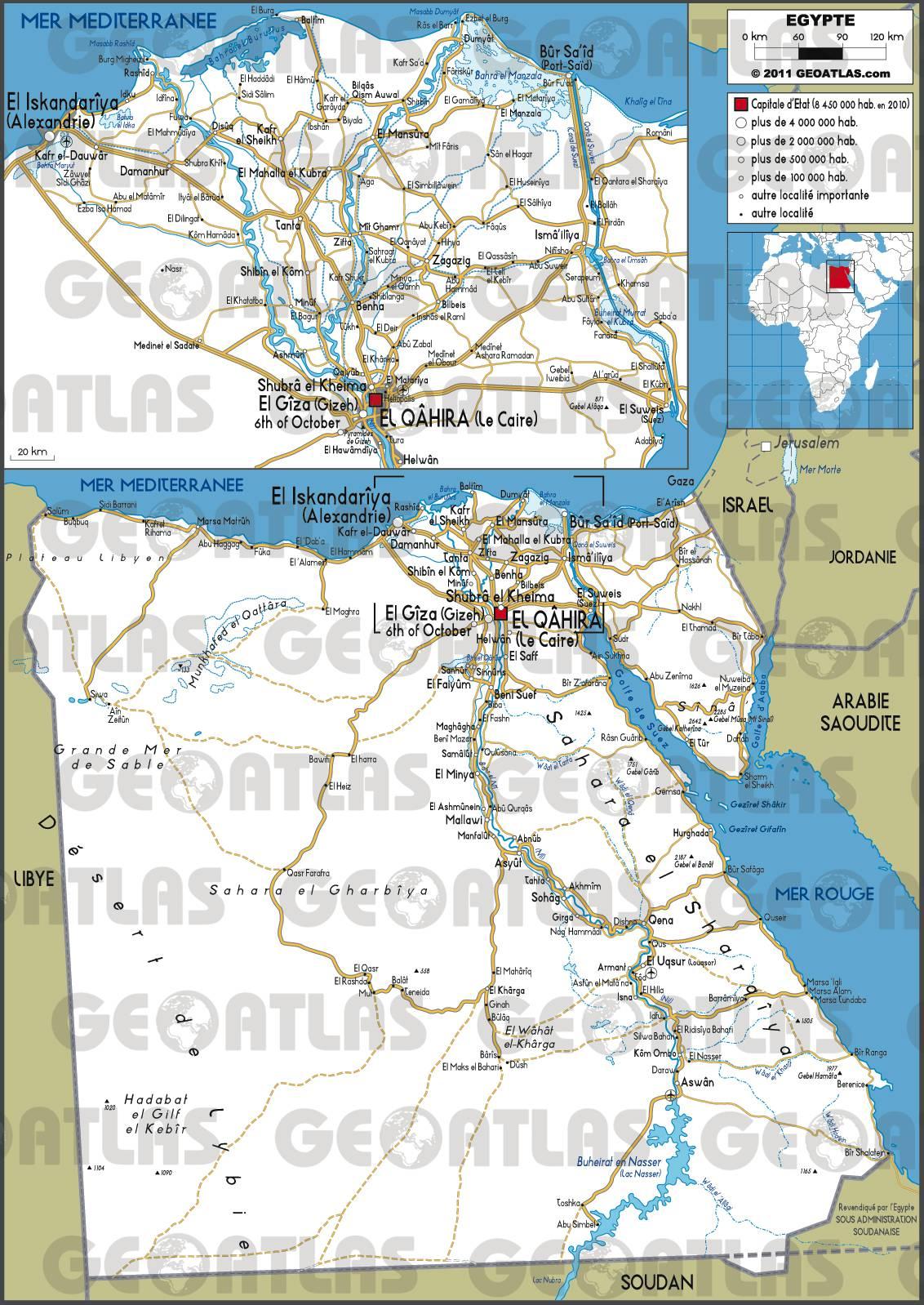 Carte routière de l'Egypte