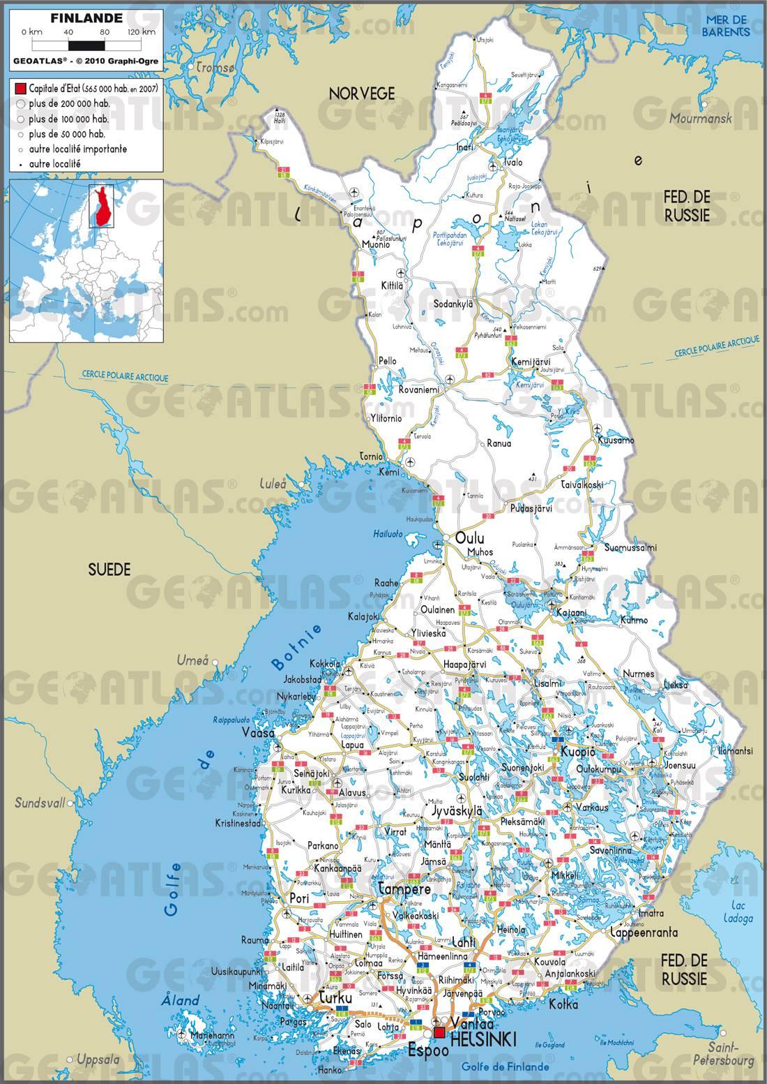 Carte routière de la Finlande