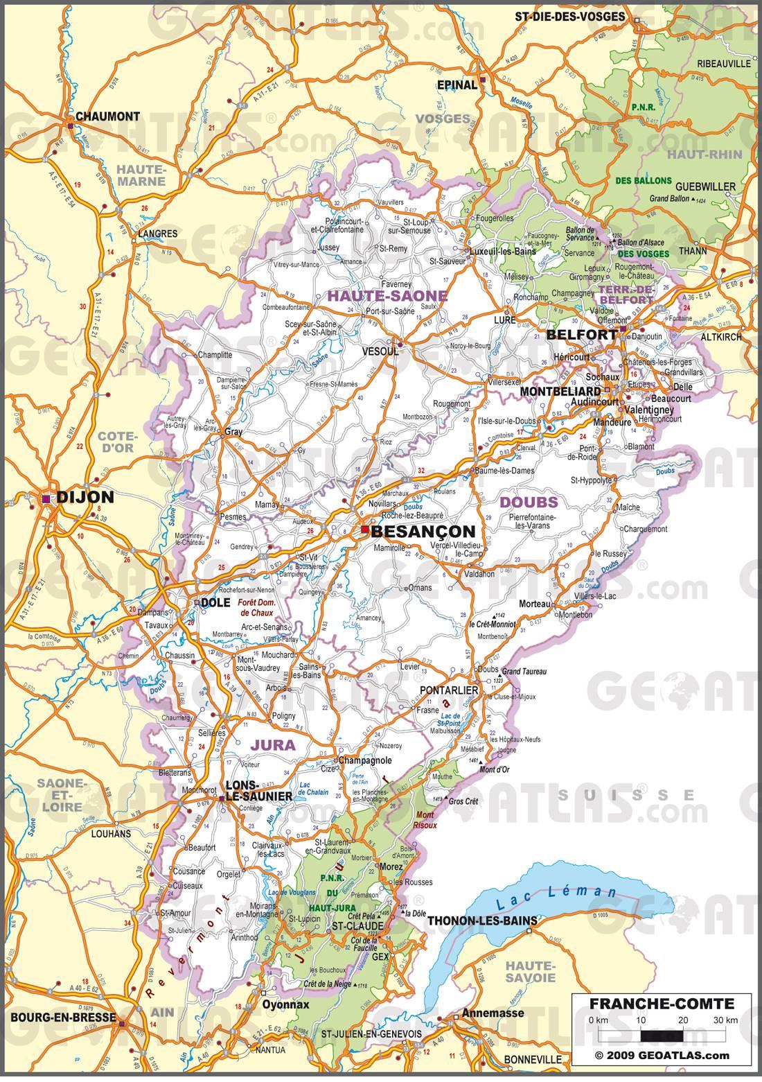 Carte routière de la Franche-Comté
