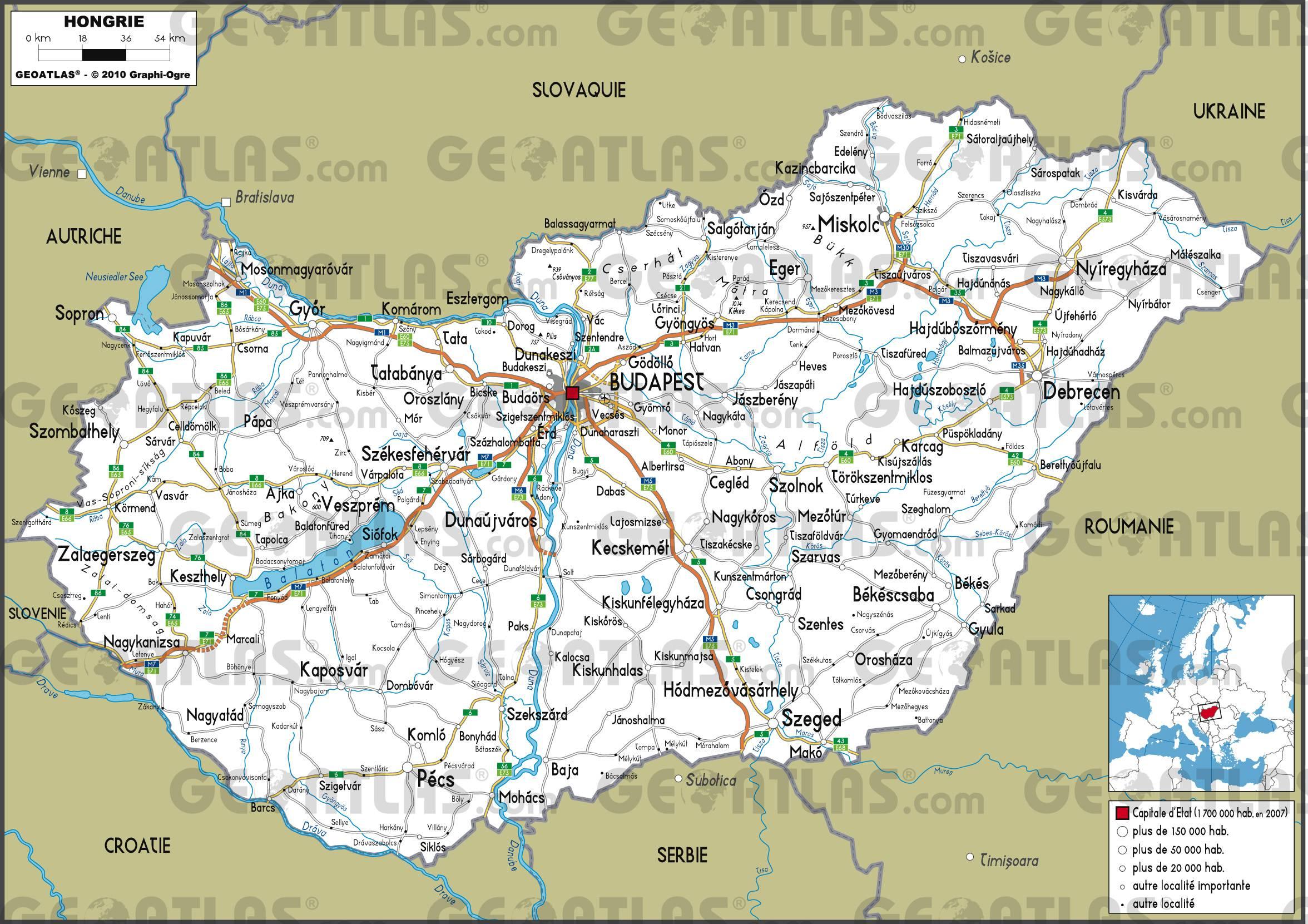 Carte routière de la Hongrie