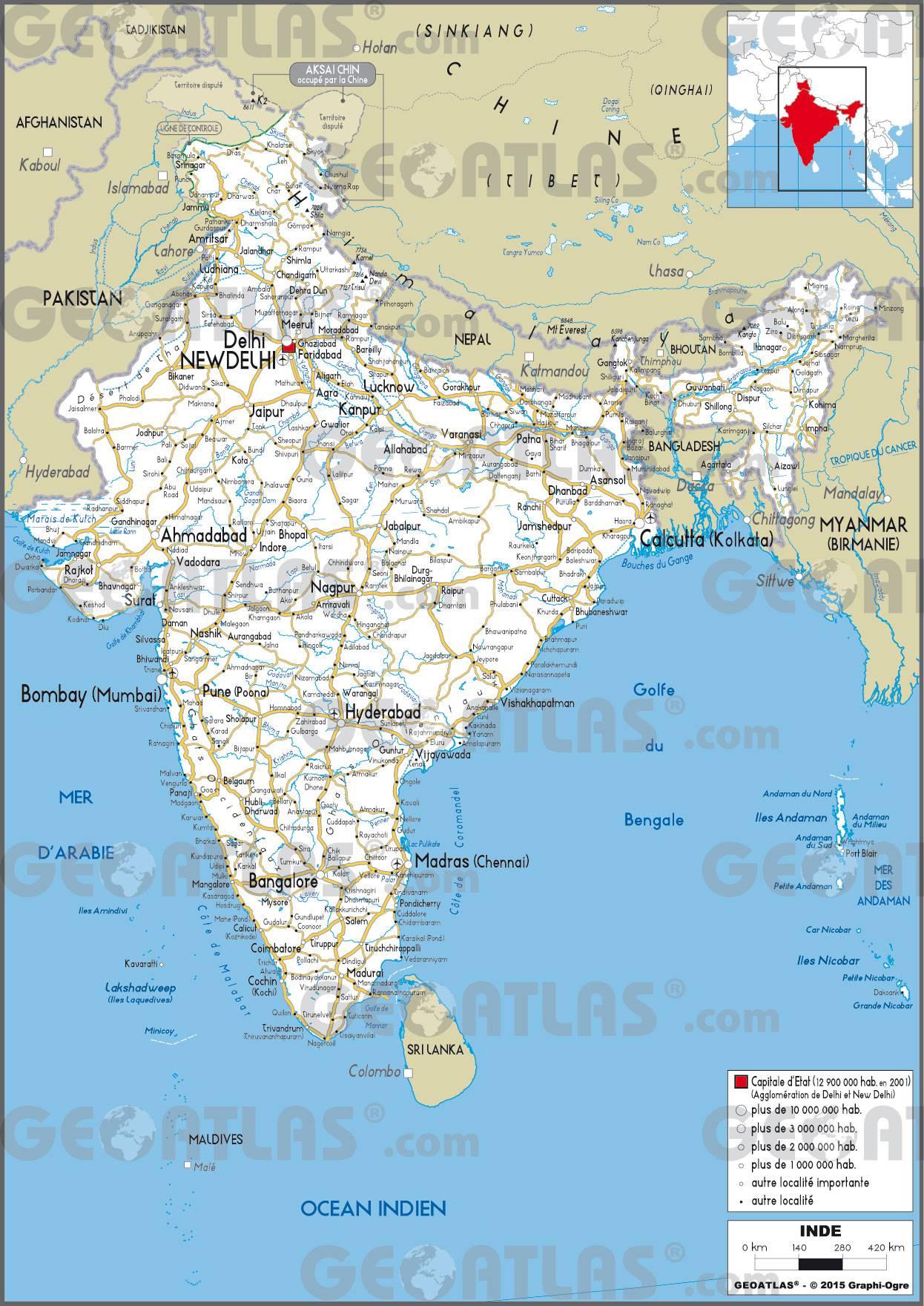 Carte routière de l'Inde