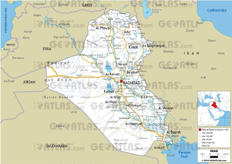 Carte routière de l'Irak