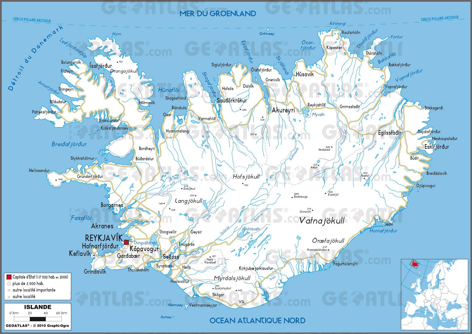 Carte routière de l'Islande