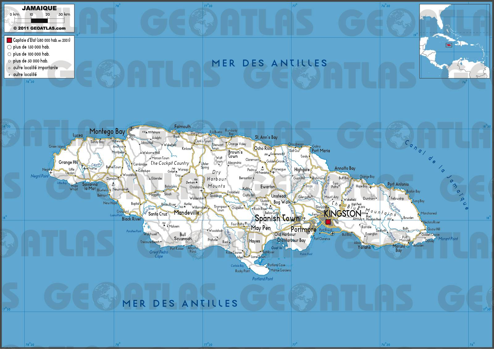 Carte routière de la Jamaïque