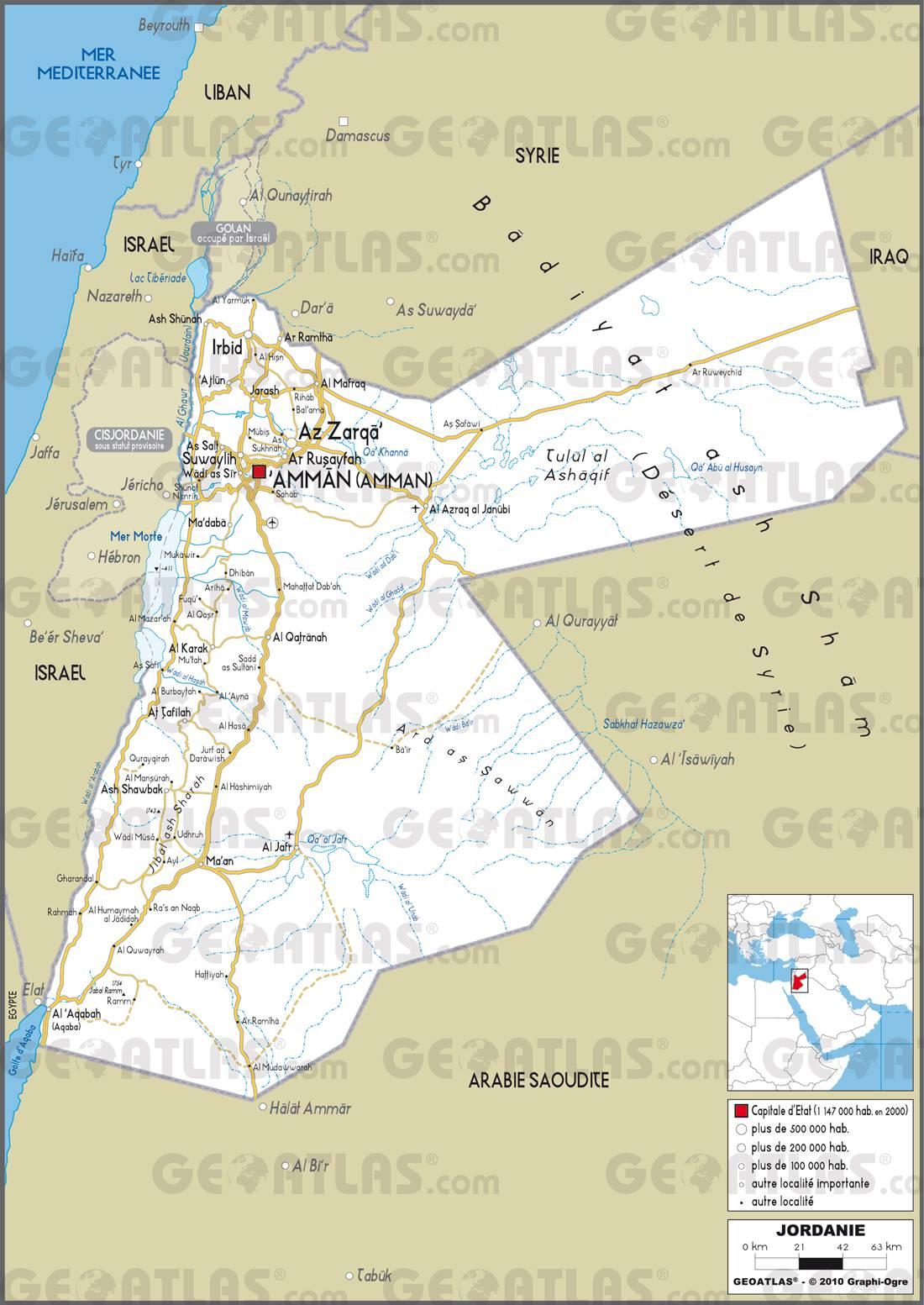 Carte routière de la Jordanie