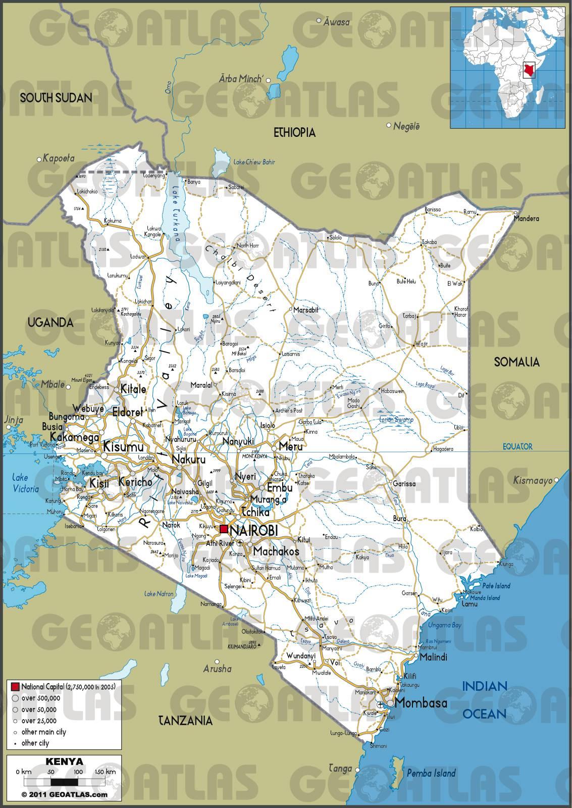 Carte routière du Kenya