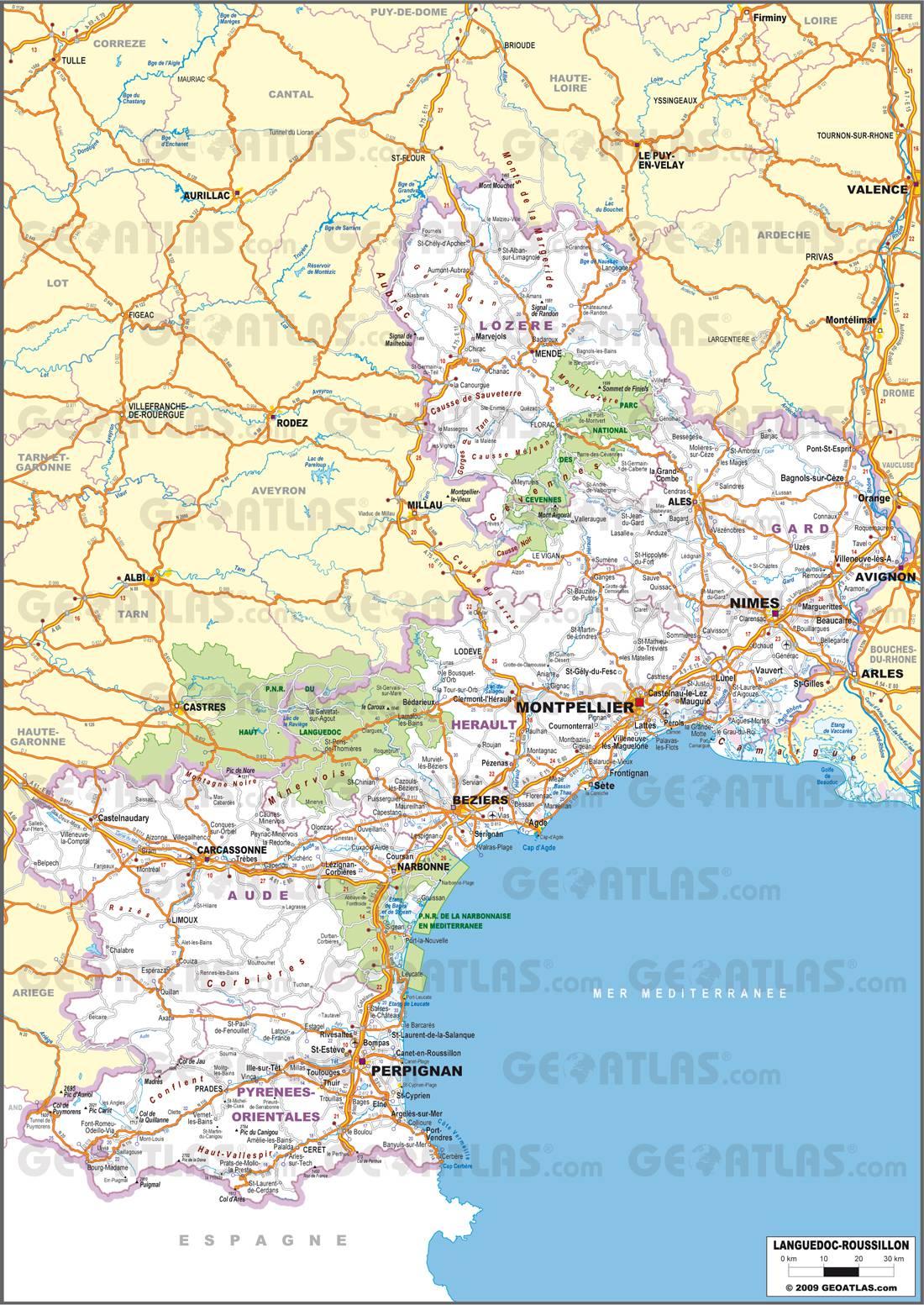 Carte routière du Languedoc-Roussillon