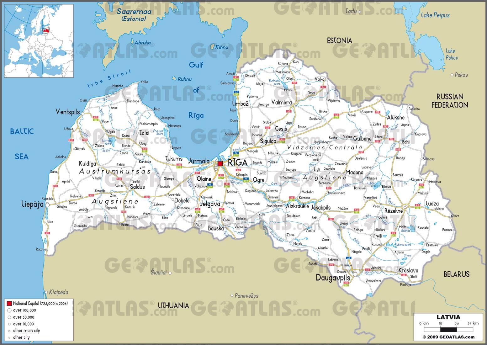 Carte routière de la Lettonie