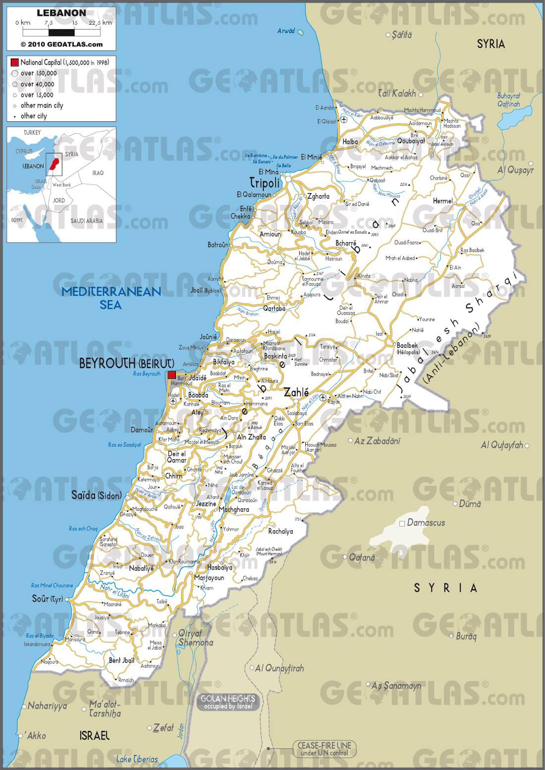 Carte routière du Liban