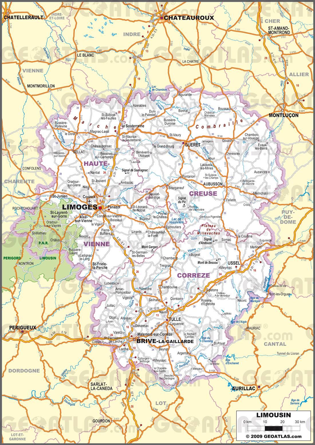 Carte routière du Limousin