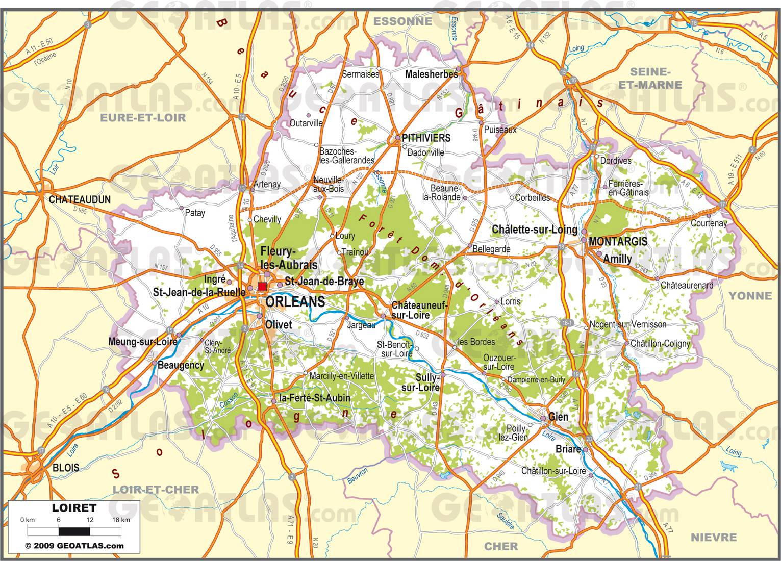Carte du loiret d taill e my blog for Plan montargis