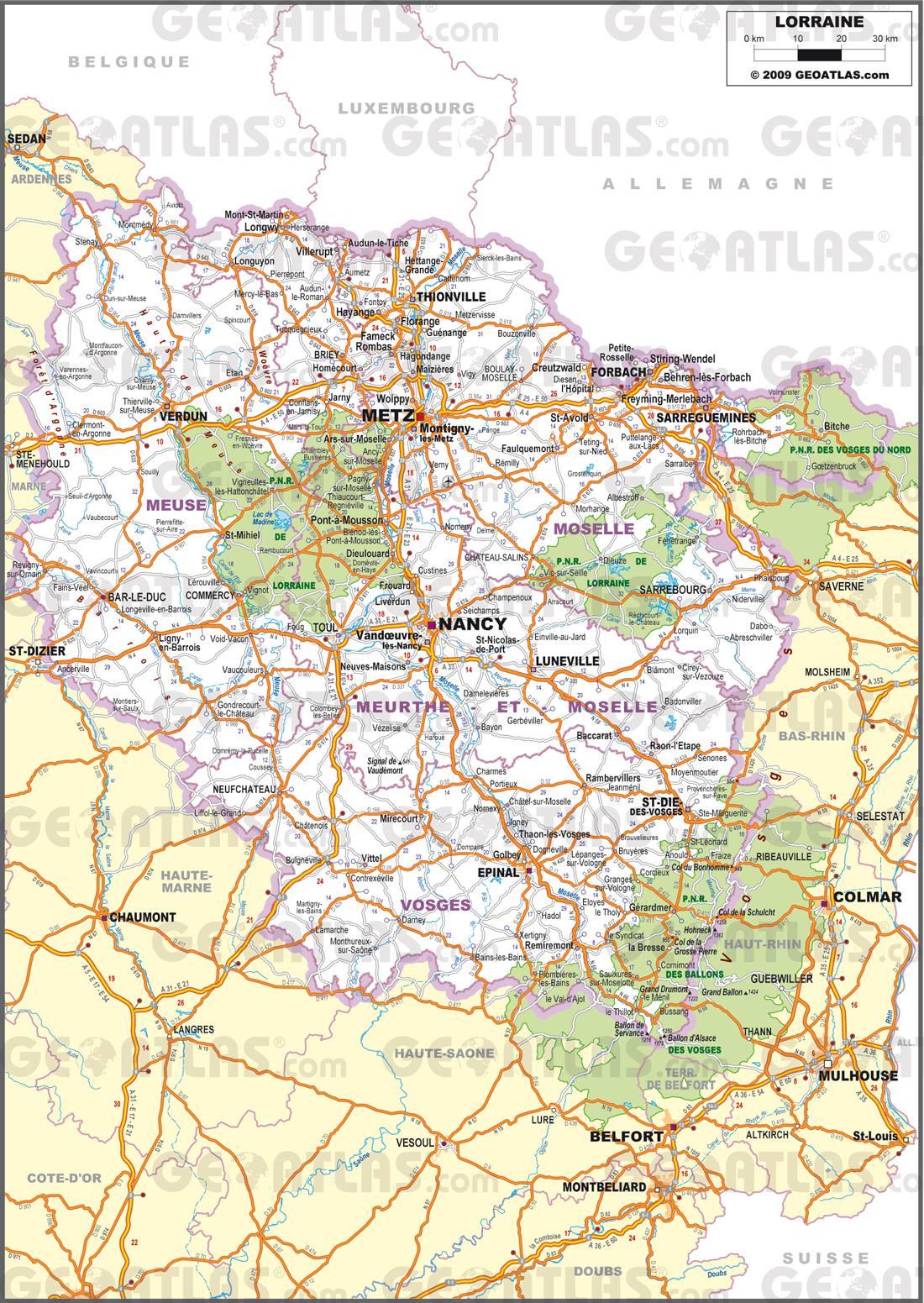 Carte de la Lorraine   Plusieurs cartes de la région se trouvant