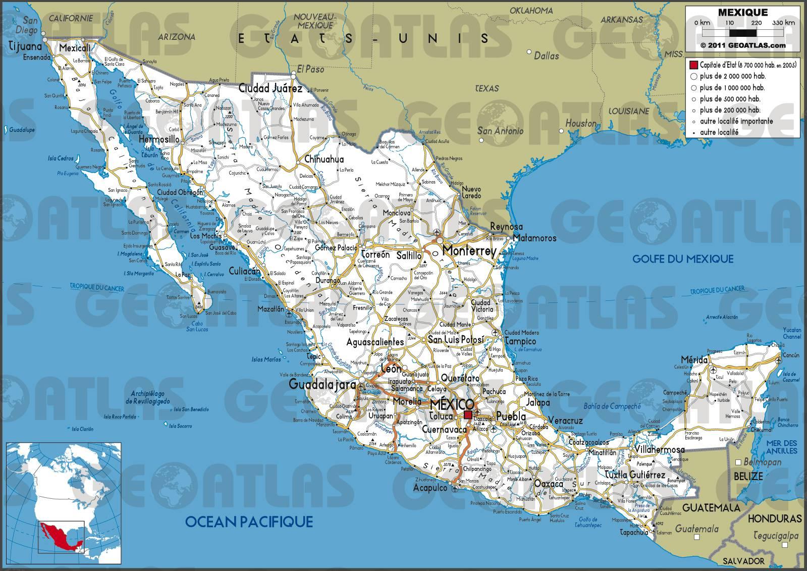 Carte routière du Mexique
