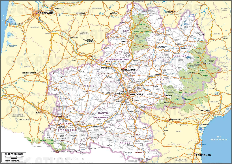 Carte routière de Midi-Pyrénées