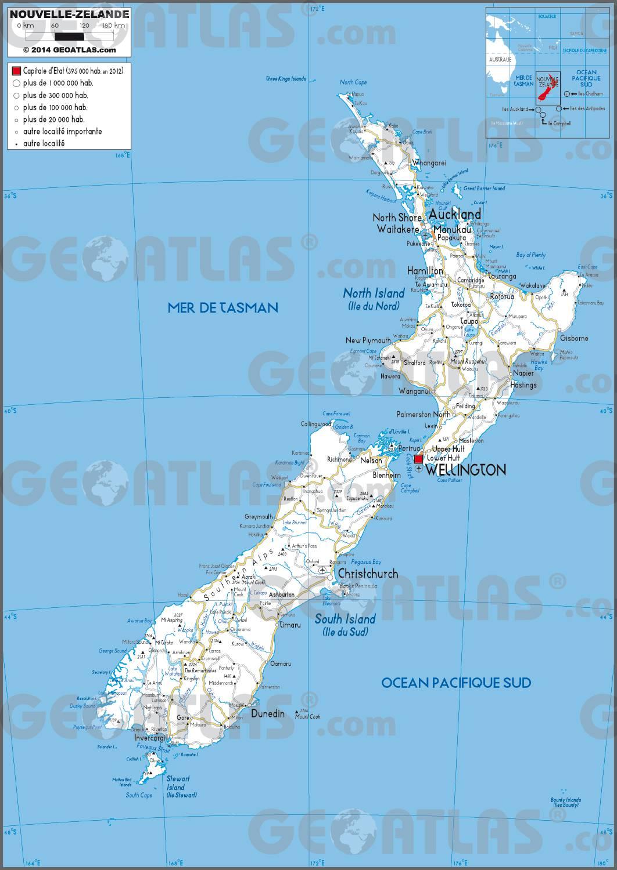 Carte routière de la Nouvelle-Zélande