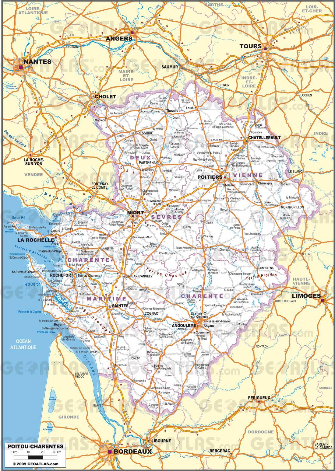 Carte routière du Poitou-Charentes