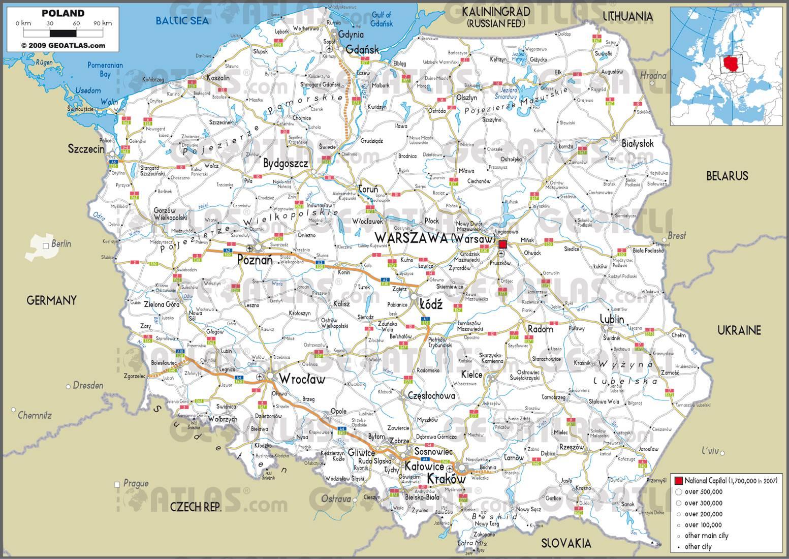 Carte routière de la Pologne