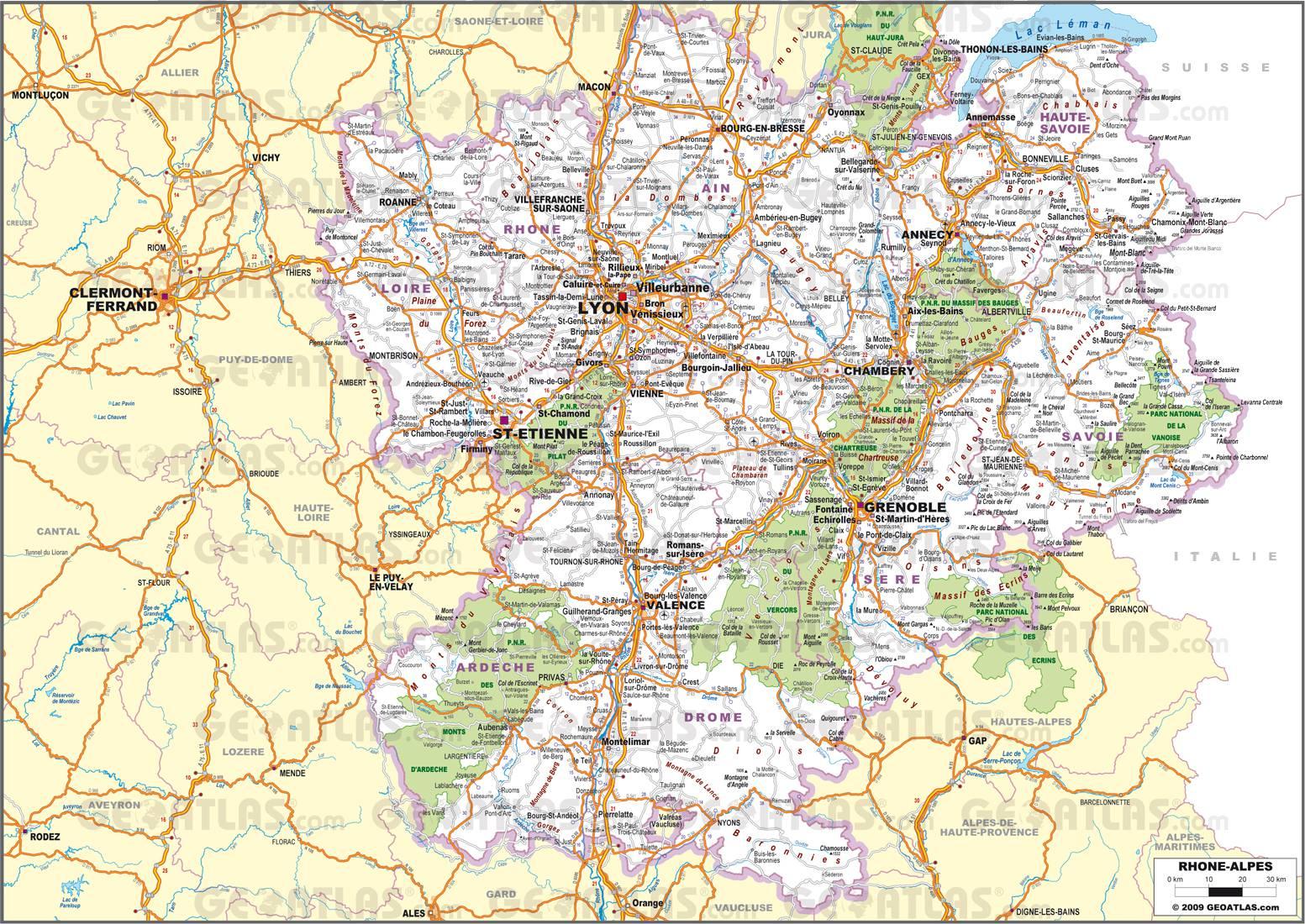 Carte routière de Rhône-Alpes