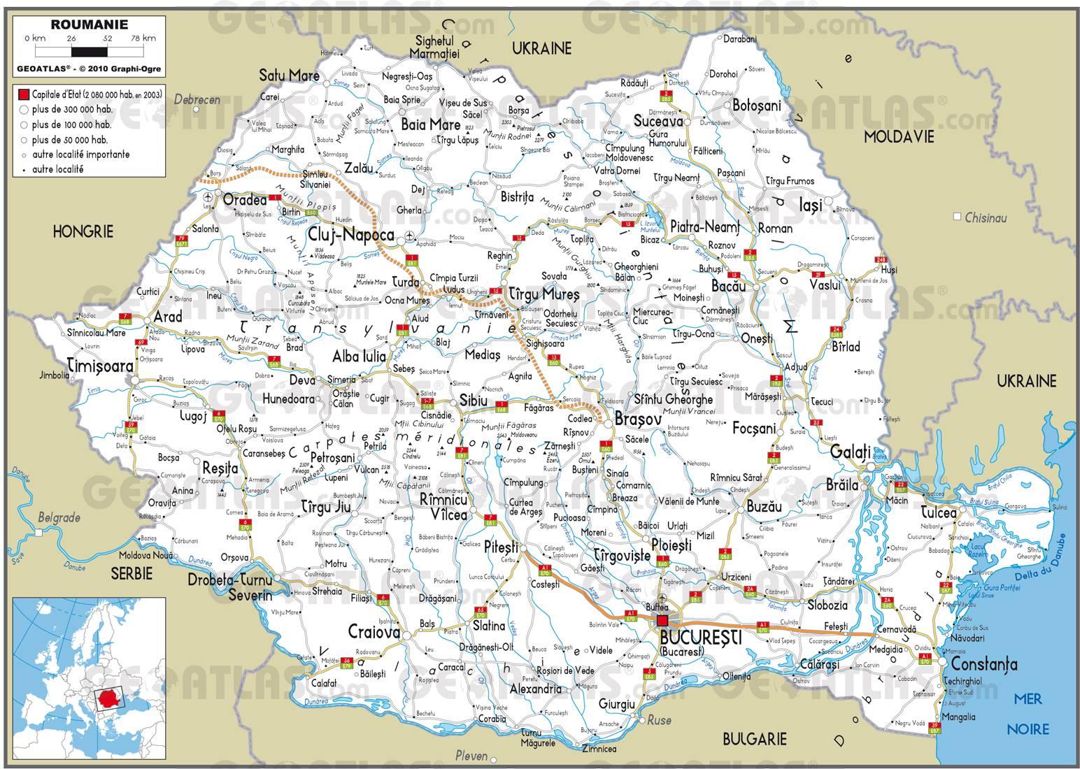 Carte routière de la Roumanie
