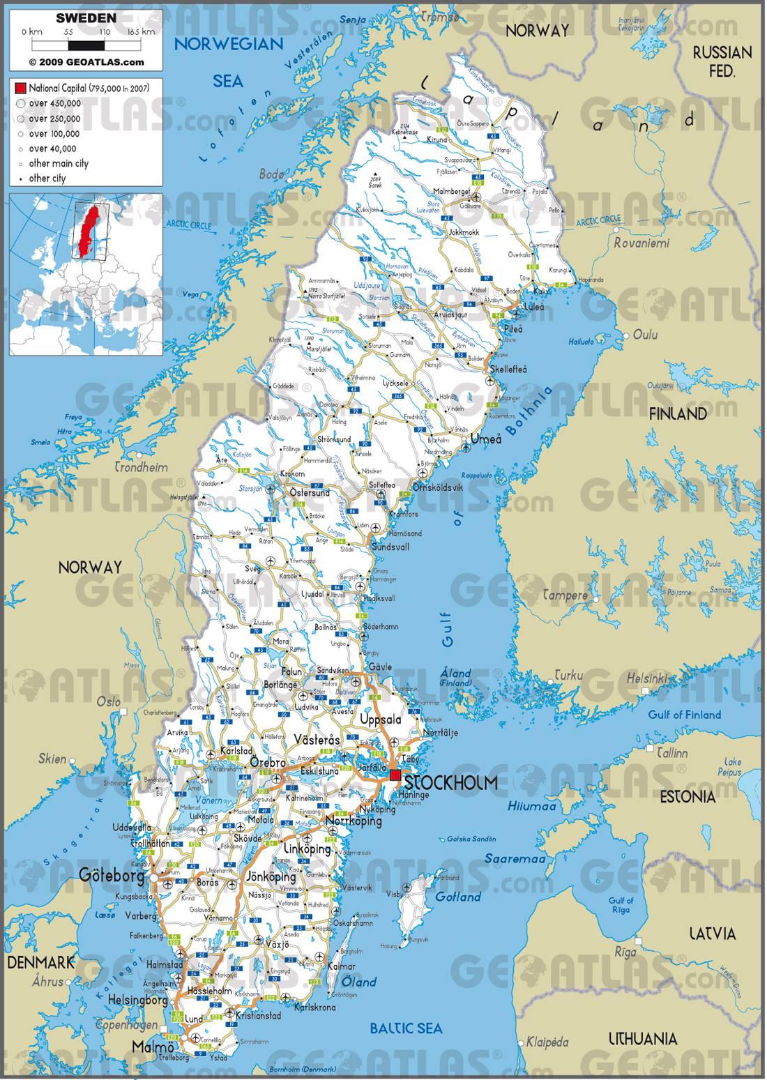 Carte de la Suède   Plusieurs cartes du pays du nord de l'Europe
