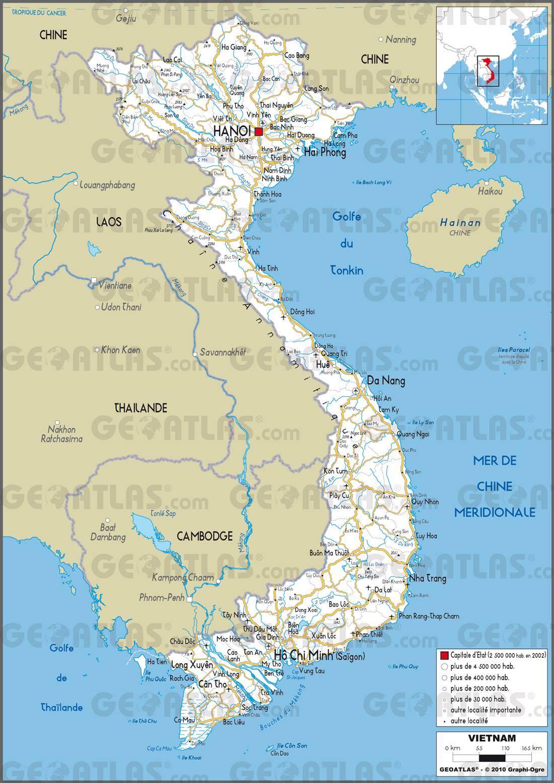 Carte routière du Vietnam
