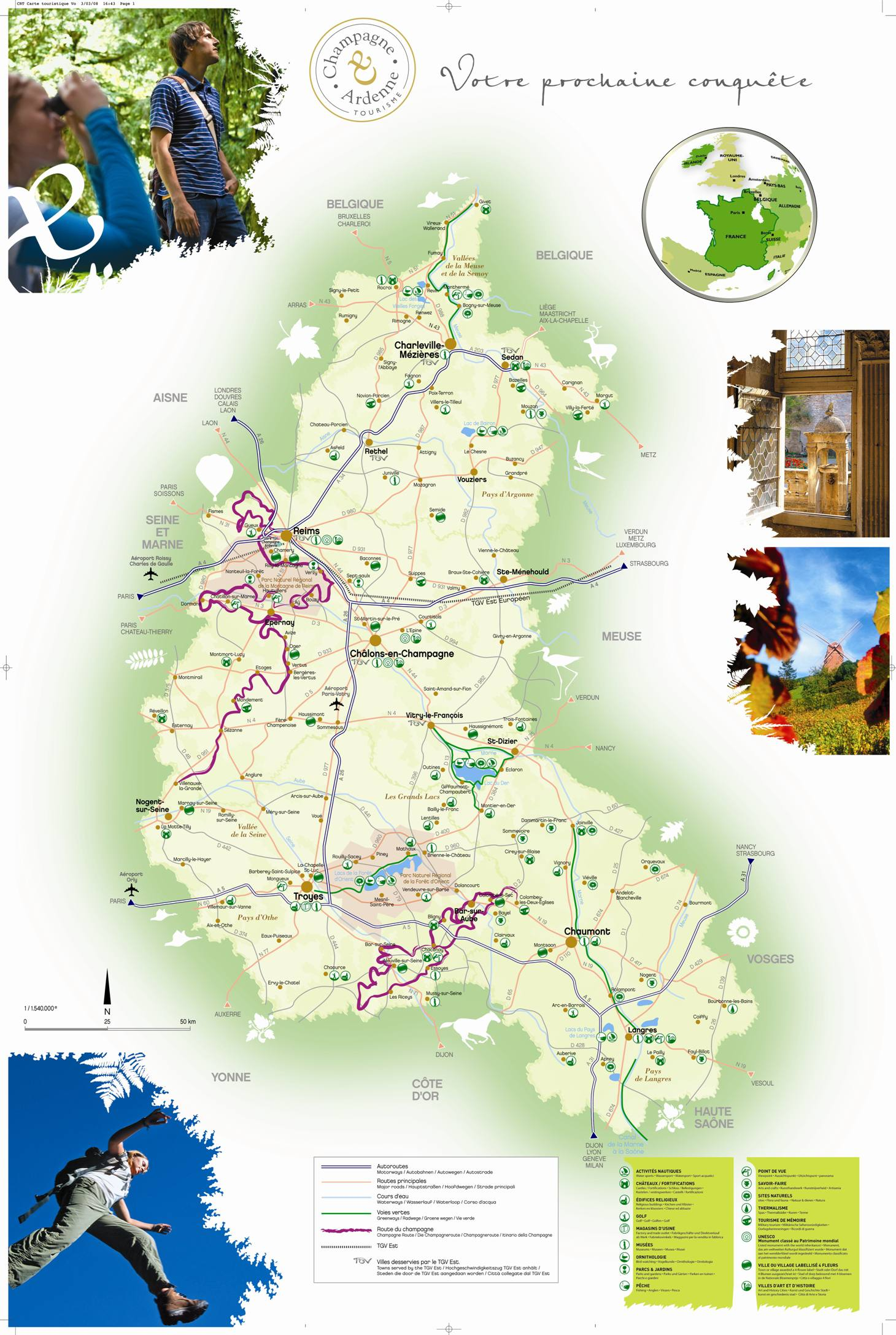 Carte des sites touristiques de la Champagne-Ardenne