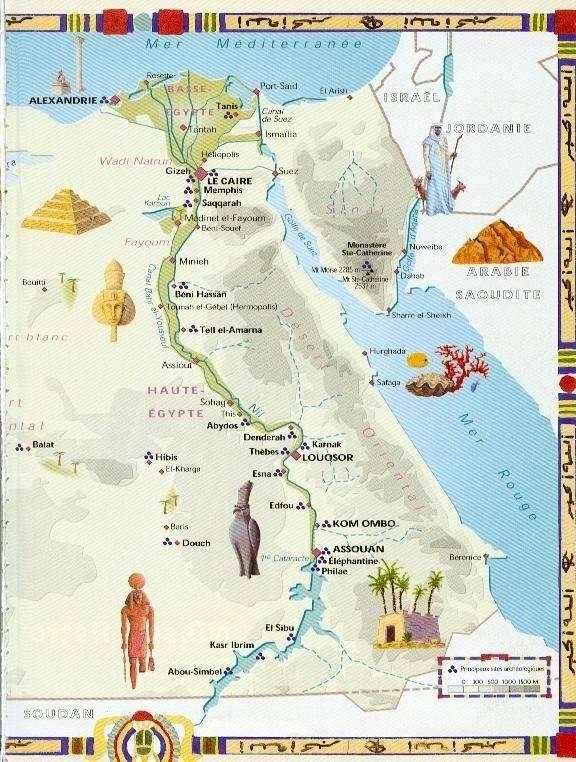 Carte des sites touristiques de l'Egypte