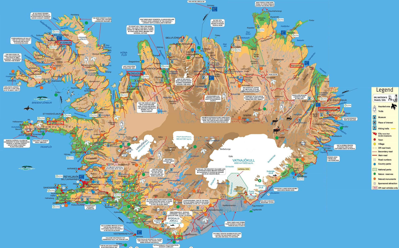 Carte des sites touristiques de l'Islande