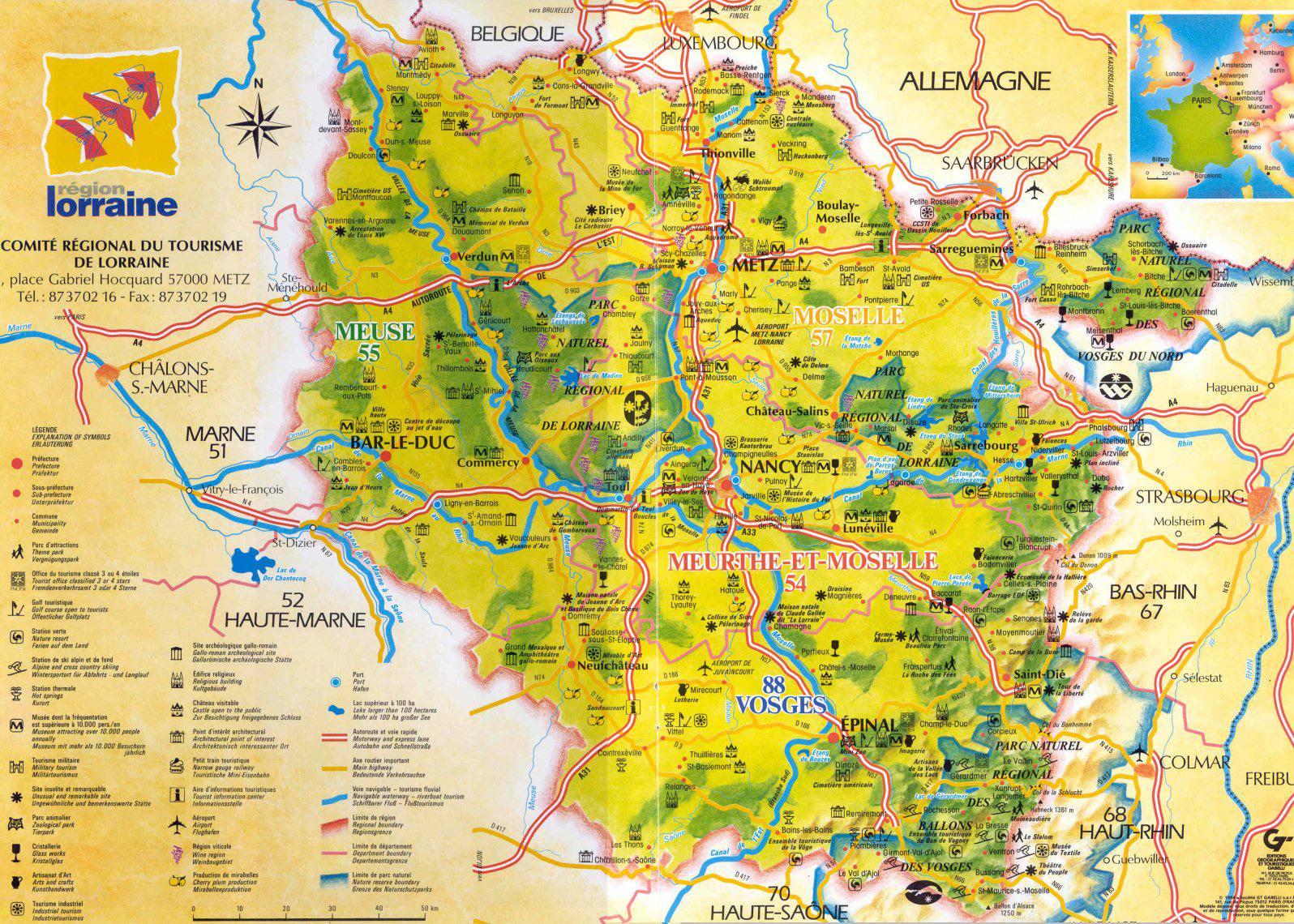 Carte des sites touristiques de la Lorraine