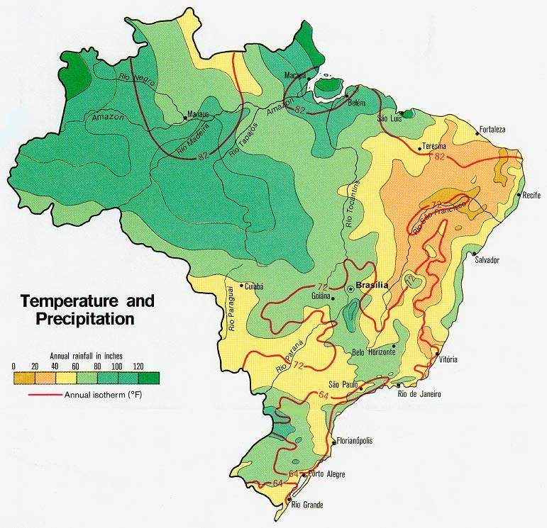 Carte des températures du Brésil