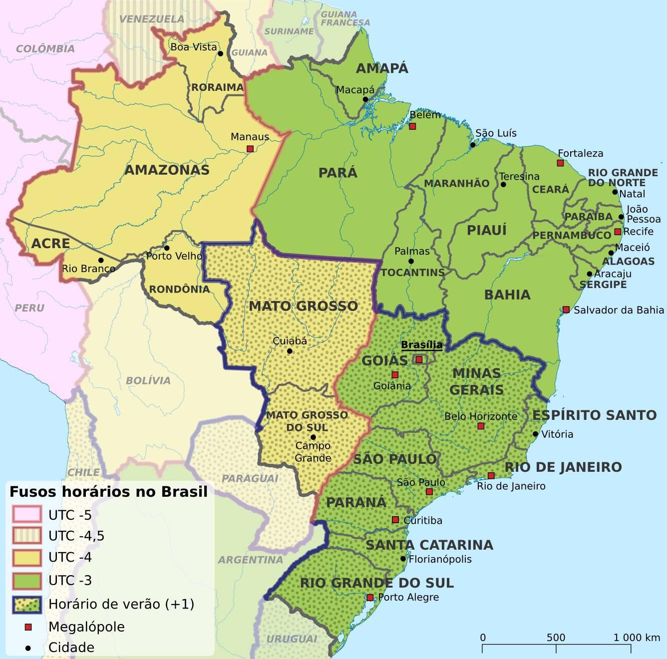 Carte des timezone du Brésil