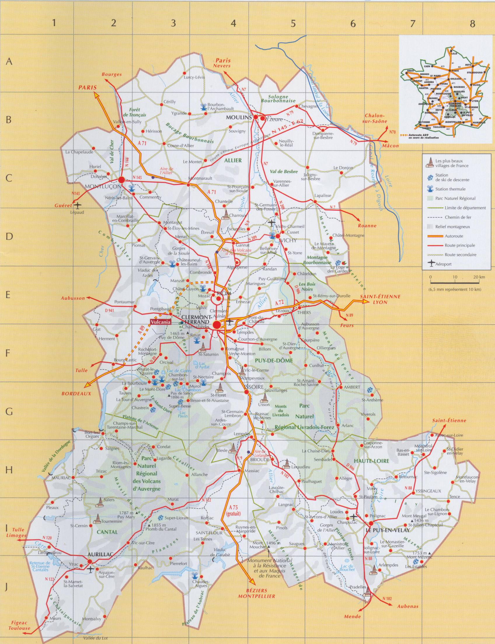 Carte de l 39 auvergne plusieurs cartes de la r gion du centre de la france - Office du tourisme de l auvergne ...