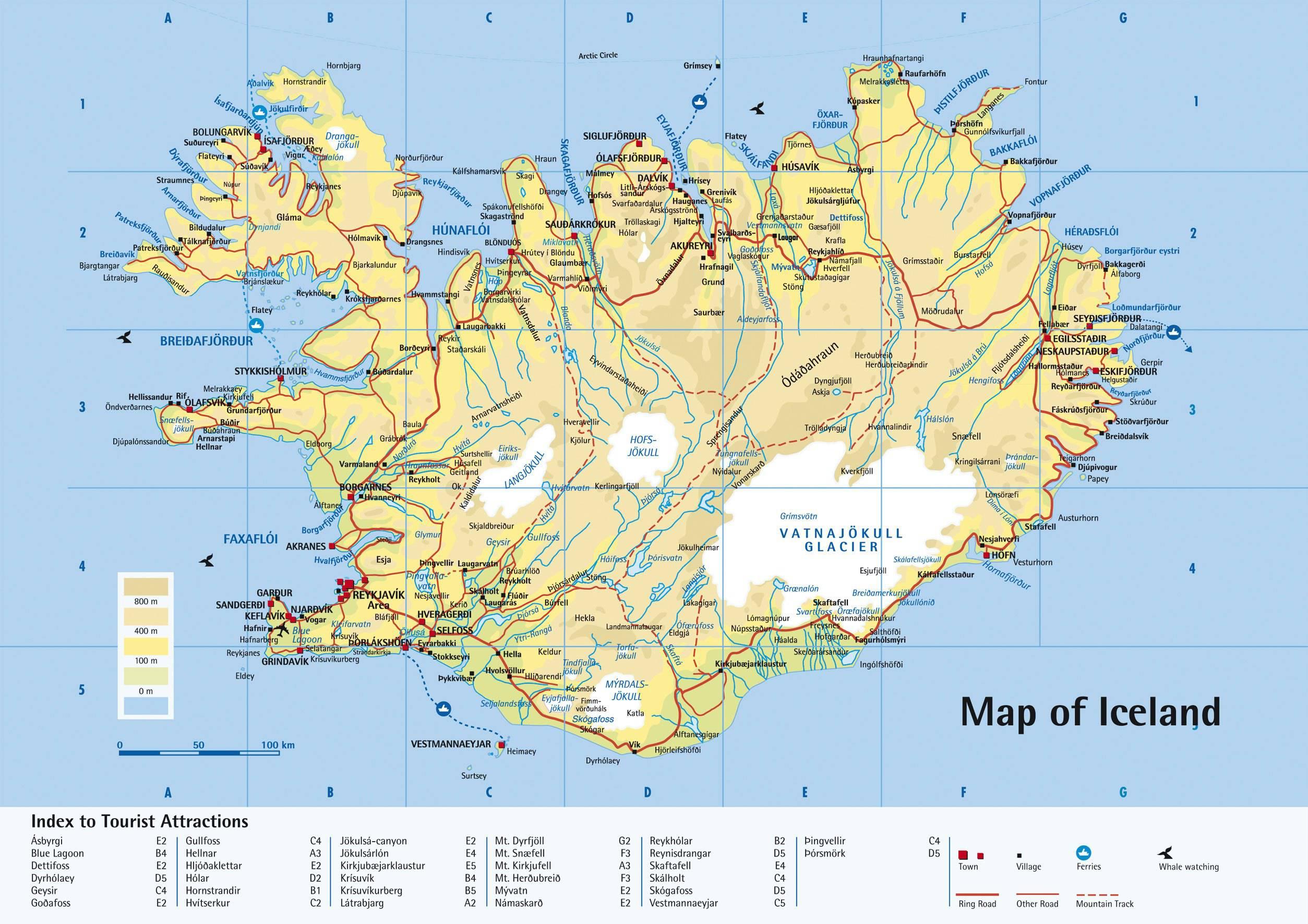 Carte du tourisme en Islande