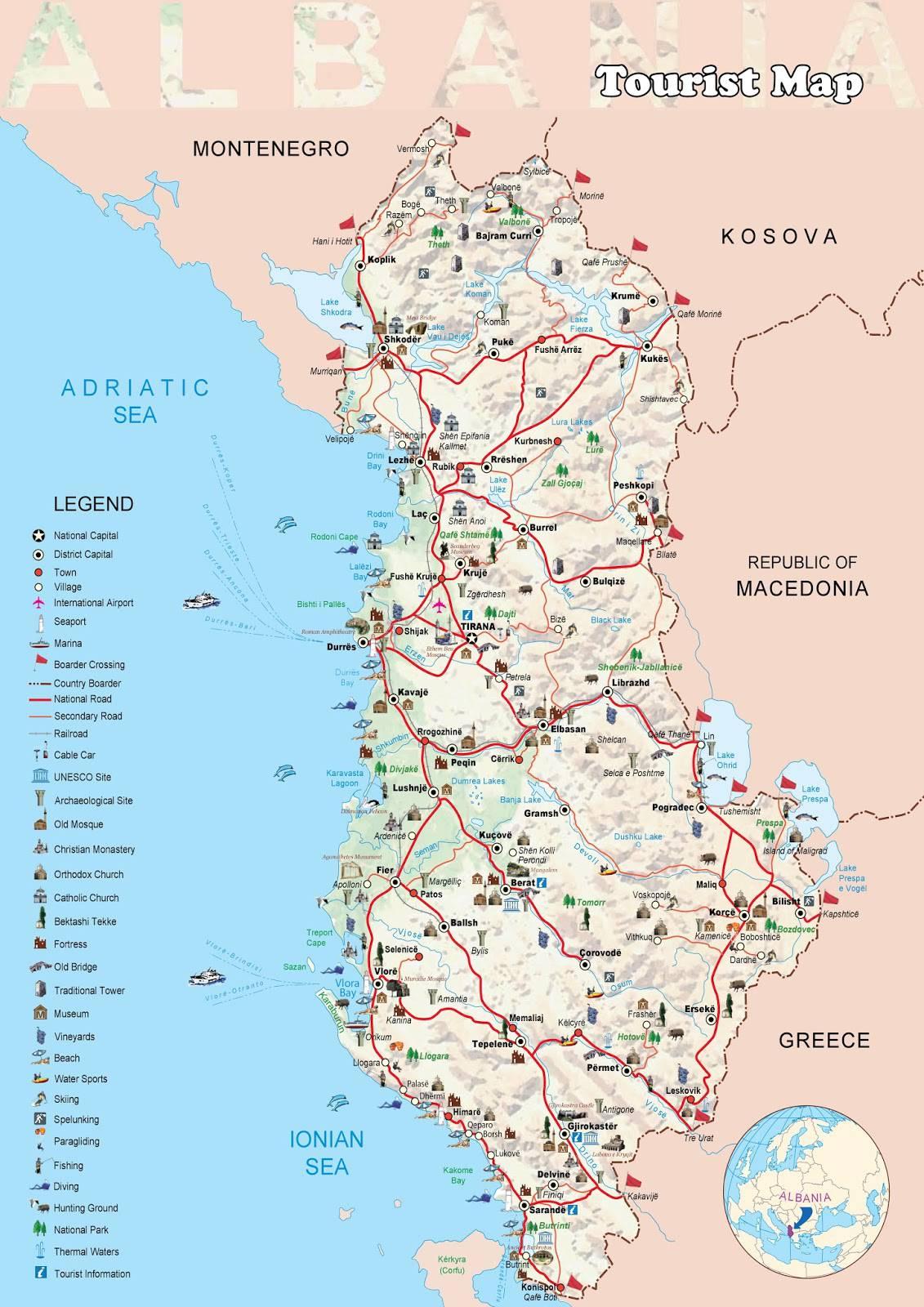 Carte de l 39 albanie plusieurs cartes du pays des balkans for Carte touristique