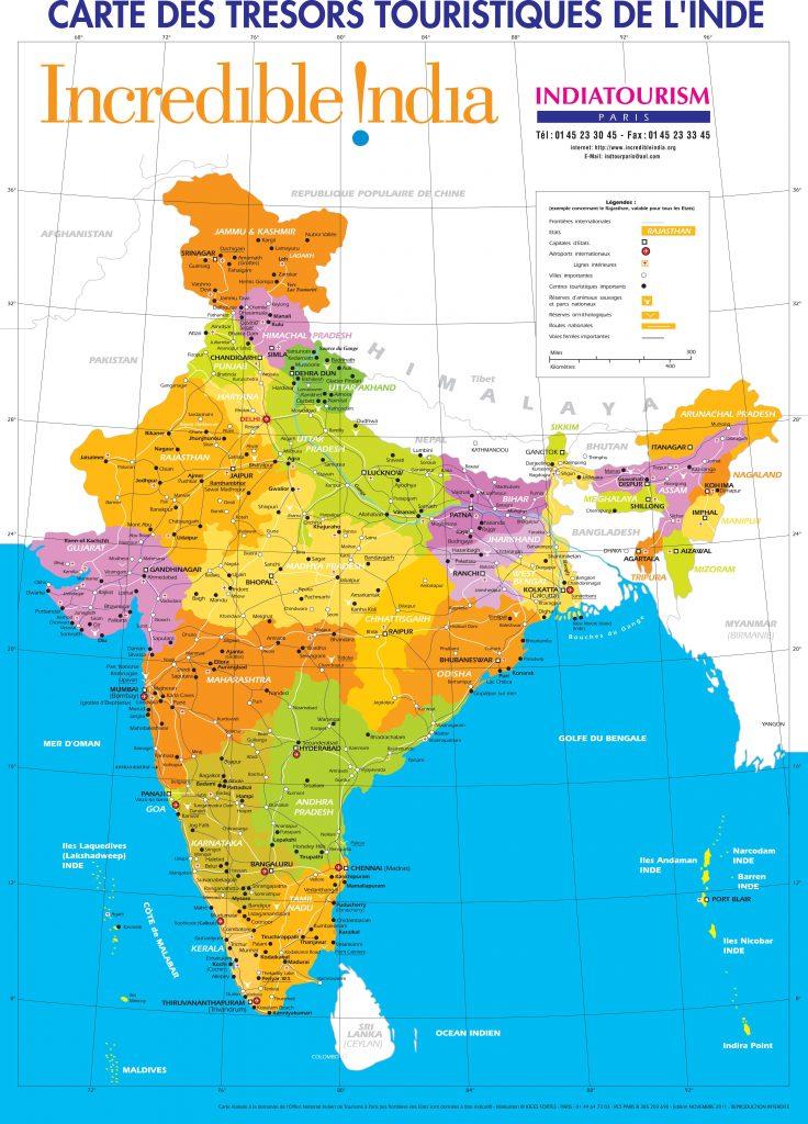 Carte touristique de l'Inde