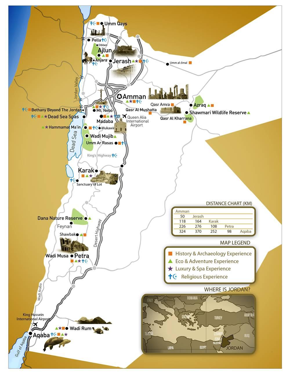 Carte touristique de la Jordanie
