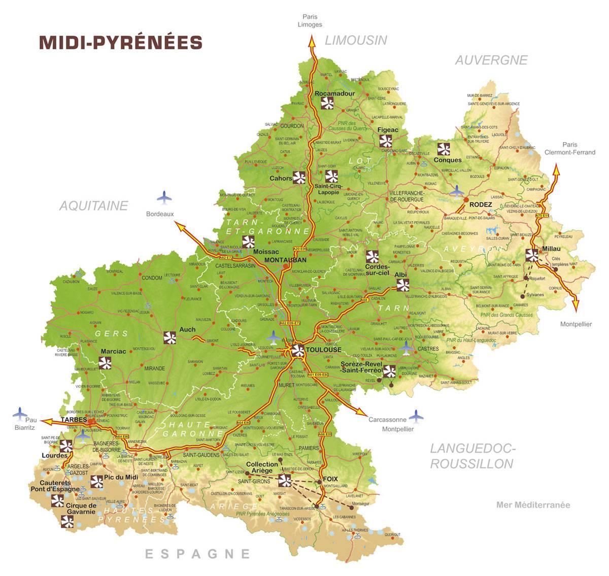 Carte touristique Midi-Pyrénées