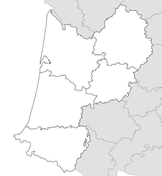 Carte vierge de l'Aquitaine