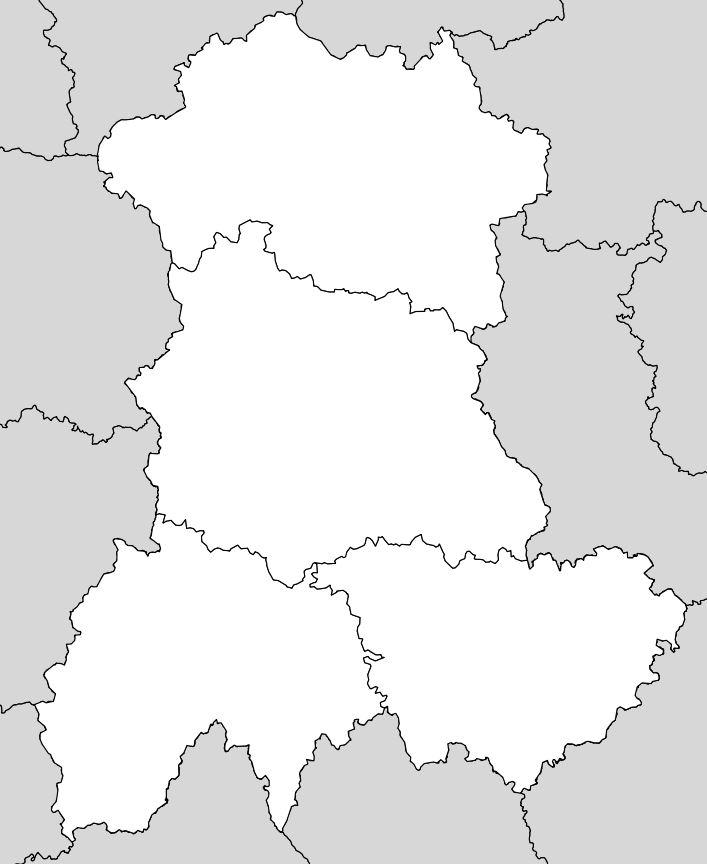 Carte vierge de l'Auvergne