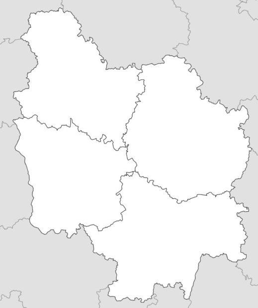 Carte vierge des départements de la Bourgogne