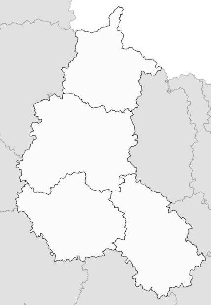 Carte vierge des départements de la Champagne-Ardenne
